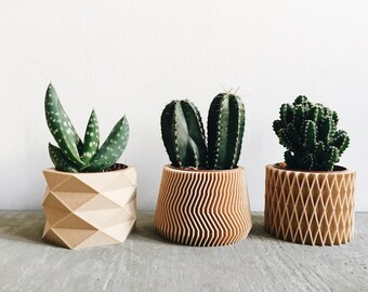 Set of 3 small geometric Pots / Planters Design Hygge printed in Wood perfect for succulents or cacti ! Original gift Mother's Day