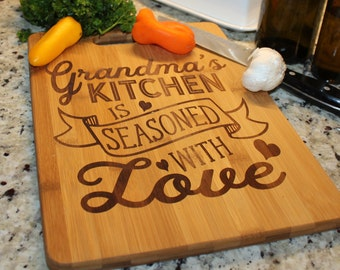 Grandma's Kitchen/Cutting Board/Seasoned with Love/Personalized/Gift/Cutting board/Christmas/Birthday/Mother's Day/Bamboo