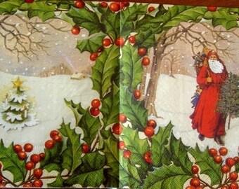 Santa Claus snow paper towel