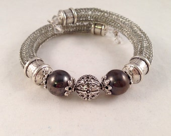 Antique Silver Viking Knit Bracelet with Crystal and Black Accent Beads Wrap Bracelet Wraps Around 1.5 Times and Fits All Sizes OOAK