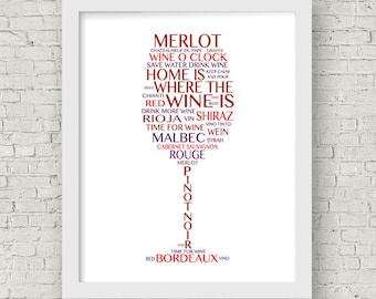 Red Wine Print -- Red wine Typography Art -- Home gift --Red Wine Canvas -- Red wine dining room art -- Kitchen Wall Art --Wine lover gift