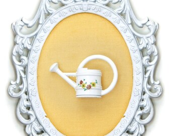 Miniature Watering Can - Victorian Framed Object - Wall Art Decor 4x6 inches