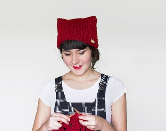 Cat Knit Hat - Ears Beanie -Knit Cat Beanie - Women's Hat - Knit Cat Ear Hat - Cat  Beanie - Animal Ears Hat  in Dark Red   The Or...