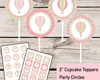 Shabby Chic Hot Air Balloon Cupcake Toppers Party Circles - INSTANT DOWNLOAD - DIY Digital Printable File, Vintage