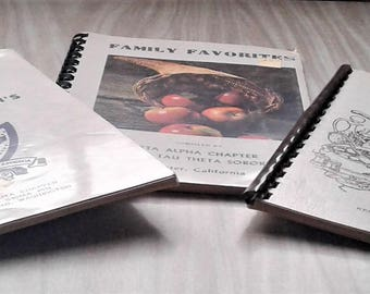 Three Vintage Spiral Bound Soft Cover Cookbook Of Fine Recipes,Cherished Recipes, Family Favorites, Home Cooking Secretes