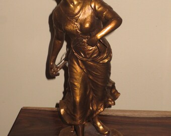 Antique Spelter Statue,Artist Signed , Peasant Girl Statue