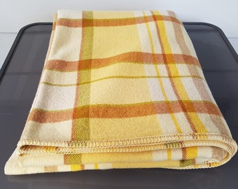 Vintage Pure Wool Blanket Yellow Check Size Single