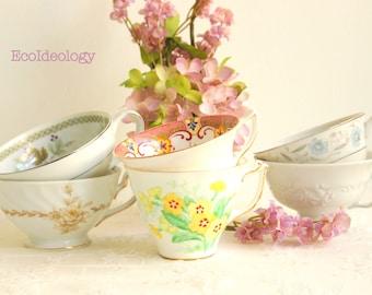 Mismatched Tea Cups, Set of 6. Vintage Tea Cup for: Tea parties, Bridal Shower Favor, Wedding Favor, Candle making.
