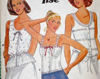 """Vintage,1970s,  Sewing Pattern, Butterick 5992, Jane Tise, 1970s Pattern, Misses', Tops, Misses' Size 8, Bust 31 1/2"""" OLD2NEWMEMORIES"""