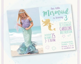 20%OFF SALE Mermaid Invitation Mermaid Birthday Invitation Gold Sparkle Mermaid Invitation Under The Sea Invitation Mermaid Birthday Party