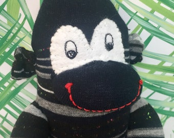 striped sock,  sock monkey doll , handmade stuffed monkey, plush sock monkey, ce certified, gift for boy