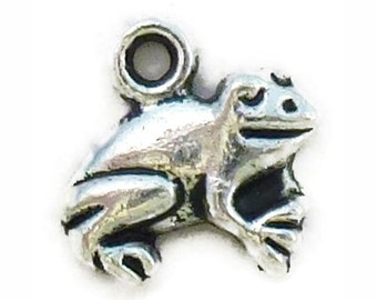 12 Silver Frog Charm Pendant 12x13mm by TIJC SP0970