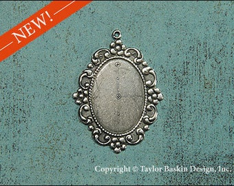 Antique Sterling Silver Plated Victorian floral 25x18mm Bezel Pendant (item 9651 AS) - 1 Piece