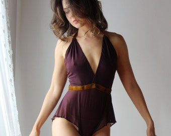 womens sheer lingerie romper with plunging convertible neckline and stretch velvet waistband JESTER - made to order
