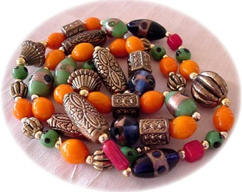 Art Glass Multi-Color Beaded Long Necklace