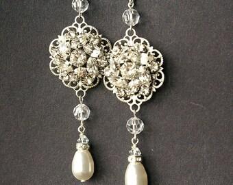 Long Wedding Earrings, Pearl Bridal Earrings, Vintage Bridal Jewelry, Crystal Bridal Jewelry, CELINE
