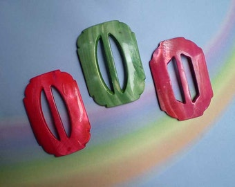 Vintage 20s 30s Lot 3 Dyed MOP Shell Slide Buckles