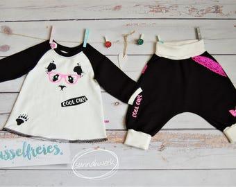"Baby-Set ""Sweet Panda"" Gr. 68 schwarz/weiß, Panda, pink, Glitzer, cool baby outfit, Sweat, Geschenk, Body,  Bodysuit, Onesie, Pumphose"