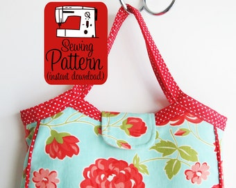 Granny Tote PDF Sewing Pattern | Make a granny bag to use as a handbag purse or project tote.
