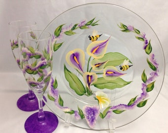 Plate & Flutes - 3 pcs - Wedding or Anniversary Set - Hand Painted