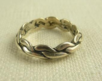 Size 7 Vintage Sterling Weave Band Ring
