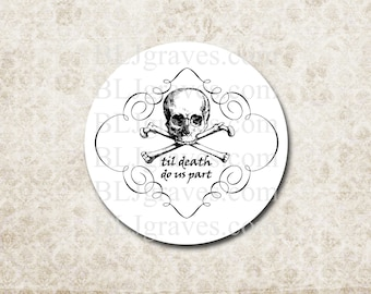 Halloween Goth Wedding Stickers - Skull Til Death Do Us Part Party Favor Sticker - Treat Bag Stickers SH007