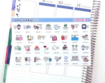 July 2018 Wacky Holidays Planner Stickers