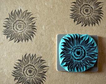 Sunflower stamp hand carved rubber stamp summer flower decor ideas by cassastamps