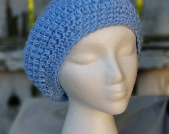 Slouchy Crochet Hat, Woman's Hat, Baby Blue, Spring or Winter hat