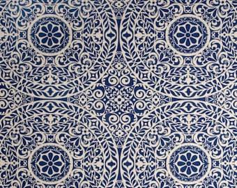 Richloom R Gallery Tachenda Indigo   Home Decorator Fabric   Yardage   By the Yard   Cut to Size   Beige   Indigo Blue   Cotton