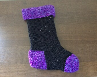 Crochet Black & Purple Christmas Stocking