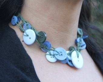 Six-strand Necklace // multi-strand necklace // blue green buttons // Choker // Handmade // chunky necklace // eco gifts