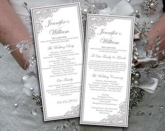 "Wedding Program Template Download - Silver Ceremony Program ""Impressions"" Tea Length Wedding Program Printable DIY Wedding Order of Service"