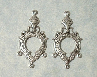 2 - Antique Silver Chandelier Stampings, Three Ring Connectors , Earring Drops, Earring Components