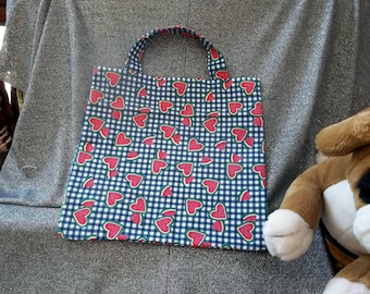 Book Lunch N Small Gift Tote Bag, Watermelon Hearts Checked Print