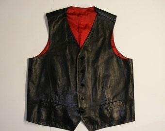 Leather Mens Vest in Black