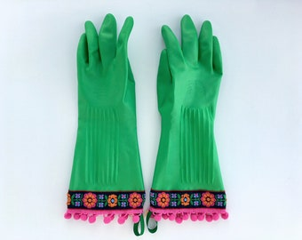 Fancy Floral Dishwashing Gloves. Size Large. Green Latex Rubber Spring Cleaning Kitchen Gloves. Gifts for Her. Gifts Under 30.
