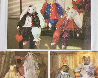 Stuffed Bunnies, Cats, and Clothes Sewing Pattern Simplicity 9336
