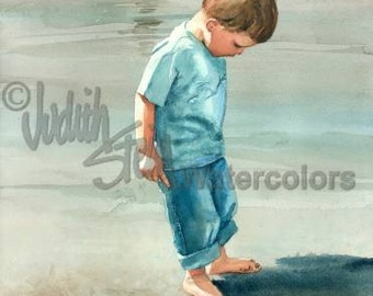 """Beach Boy and His Shadow in the Sand, Seashore, Blue Shirt, Jeans Children Watercolor Painting Print, Wall Art, Home Decor, """"Me & My Shadow"""""""