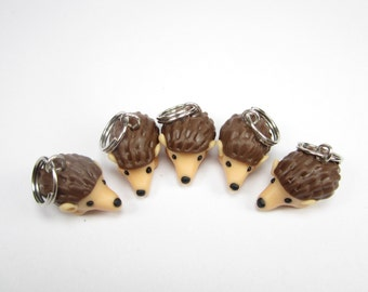 Hedgehog Stitch Markers, Set of 5, hedgehog charms, knitting accessories, knitting, cute, animal,gift for her, clay, knit, gift for knitters