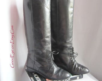 Vintage 90s PATIO Leather Riding Boots / size 6 m  B Eu 36 .5 UK 3 .5 / Black Laceup Ankle FLAT Heel / 80s Equestrian  made in Brazil