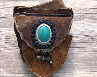 Gypsy leather Hip Bag, Festival Bag, boho fanny pack, belt bag by Dazzling Gypsy Queen