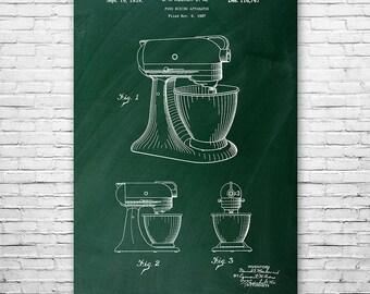 Stand Mixer Poster Art Print, Kitchen Art, Food Mixer, Kitchen, Cooking, Chef, Patent Art, Gift, Patent Print, Patent Poster, Wall Art