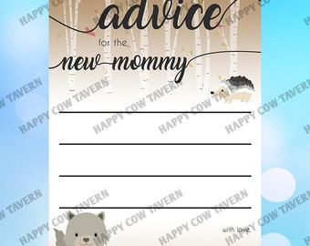 Woodland Themed Advice Card - Baby Shower