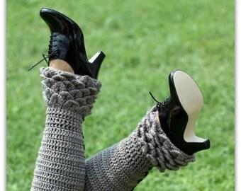Crochet PATTERN Crocodile Stitch Legwarmers - Permission to Sell Finished Items