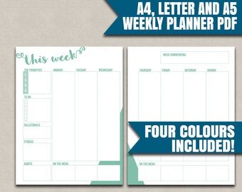 Weekly Printable Planner, two pages per week organiser printable, A4, A5, Letter sizes organiser for the week, fitness to dos, weekly plans