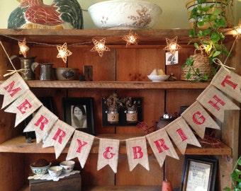Burlap Christmas Banner, Merry & Bright Bunting, Christmas Banner, Red Christmas Bunting, Holiday Banner, Rustic Christmas Banner