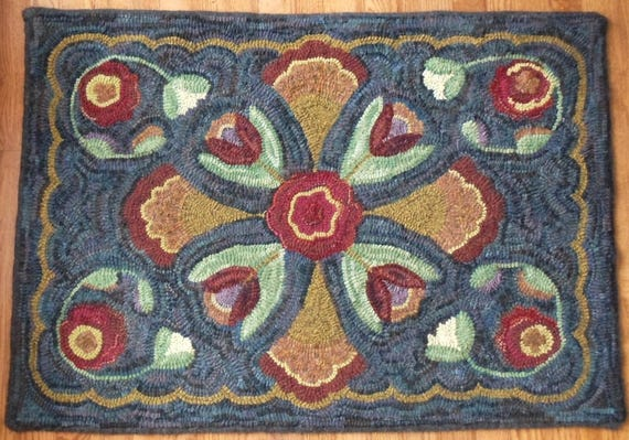 """Rug Hooking PATTERN, Tulip Cross 28"""" x 40"""", a primitive design by Mary Johnson, Folk art Floral, hooked rug pattern, P128"""