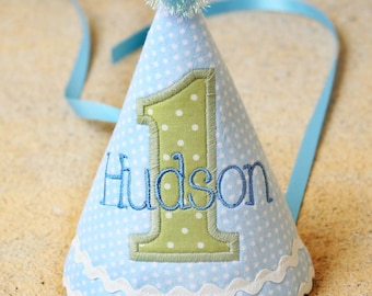 First Birthday Party Hat for boys - Light blue dots and soft green dots - Peter Rabbit - Free personalization