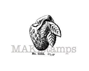 Fruit rubber stamp / Strawberry stamp / Unmounted rubber stamp or cling stamp (140209)